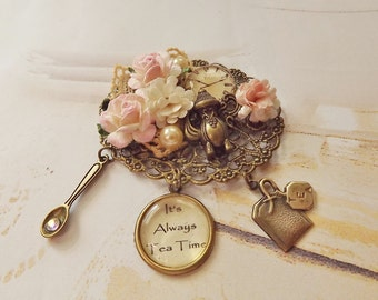 Filigree Brooch, Pink Rose Brooch, Floral, Tea Party Jewelry, Tea Time Brooch