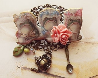 Toads, Frogs, Tea Party Brooch