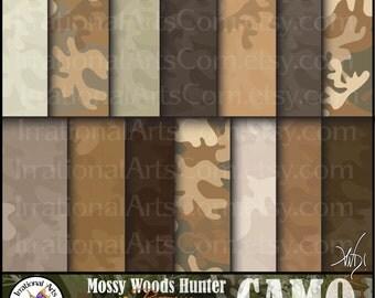 Mossy Woods Hunter Brown CAMO Set 7 - 14 jpg digital scrapbooking papers {Instant Download}