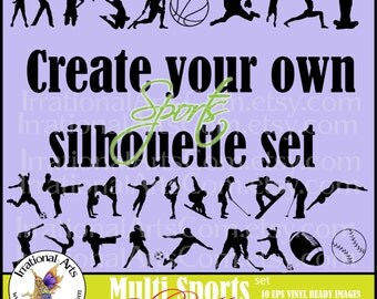 Create Your Own Multi Sports set of Sports Silhouettes 8 - 10 EPS & SVG and PNG Vector Vinyl Ready Images