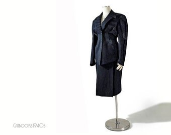 Vintage THIERRY MUGLER Suit - Hourglass Pinstripe Wool Skirt Suit S