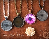4 DiY Pendant Setting Kit ~Craft Kit~30mm Circle Trays, Vintage or Rolo Chain, Smooth Glass Cabochon Domes, Mini Sun And Moon GLAZE