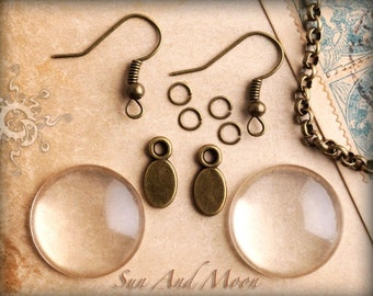 DiY Circle Glass Earring Set So Easy To Make Great For Gifts Or Any Occasion-Petite Smooth Back Crystal Clear 20mm Glass With Findings