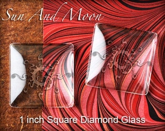10 Transparent Clear Diamond Shaped Glass ~ Fx Premium 1 Inch Square DIAMOND Glass ~ From Sun And Moon Craft Kits Collection