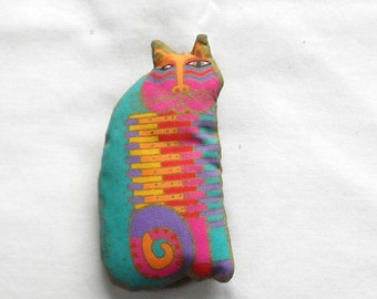LAUREL BURCH BROOCH, Vintage cat pin, collectible designer jewelry, soft fabric, color brooch