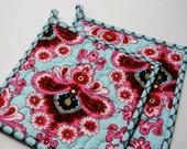 Amy Butler Potholders, Designer Potholders, Quilted Pot holders, Amy Butler Belle French Wallpaper in Duck Egg