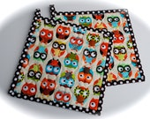 Owl Potholders, Quilted Potholders, Fabric Potholders, Set of 2