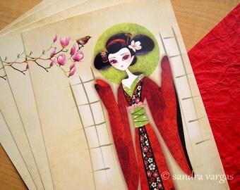 Sakura Girl Large Postcard Print Postcrossing - Limited Edition