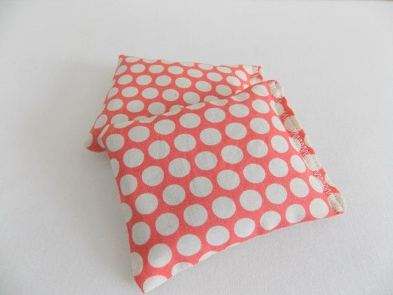 Organic lavender and flax seed sachets - set of 2 - laundry - hand warmer - hot/cold pack -all natural - aromatherapy - CORAL DOT