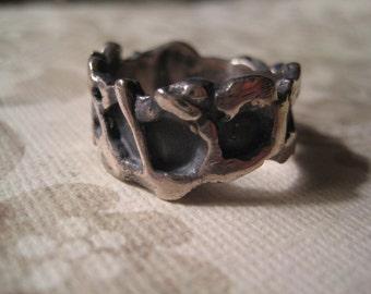 Brutalist ring mid century sterling band by Provincetown artist I Sklar