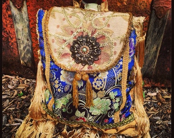 Boho Gypsy Pandora Sling Backpack Purse, Bohemian Shoulder Bag, Slouch Bag, Tassels or Leather Fringe, Heavy Silk Brocade ~ Made To Order