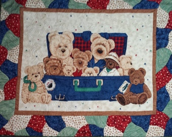 Baby Quilt Traveling Teddy Bears in Suitcase Quilt for baby/toddler