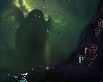 Cthulhu Looming Lovecraftian Horror Art Print - Multiple Sizes - The Nearest Shore to R'lyeh