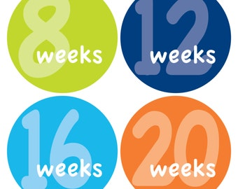 12 Weekly Pregnancy Mama-to-be Maternity Waterproof Glossy Stickers  - Monthly stickers available - Design W001-05