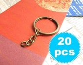 Keychain with Split Ring - 30mm - Antique Brass - 20 pieces SK025