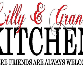 Kitchen Decal personalized with names  13 x 21