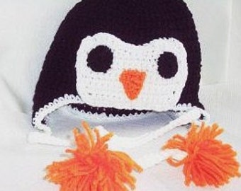 Crocheted Baby Penguin Hat, Penguin Earflap Hat Photo Prop, Baby Animal Hat With Earflaps and Tassels, Penguin Beanie