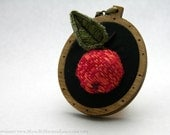 The All Hallow's Crabapple Pendant - Miniature Stumpwork Embroidery and Birch Wood