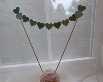 """Glittery Gradiated Green Teal  Blue 1"""" Hearts -  Cake Topper Banner - Birthday, Wedding, Anniversary, Engagement, Party, Love, etc."""