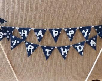 Cake Topper HAPPY BIRTHDAY - Unique Blue White Polka Dots Pinwheel Flags Banner