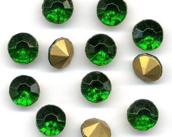 Vintage Czech Pointback Rhinestones Emerald Green Glass 47SS 12 Pcs. DESTASH