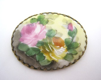 Porcelain Brooch - Hand Painted Flowers