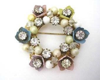 Vintage Rhinestone Brooch - Pastel Enamel Flowers Easter Spring Beaded Costume Jewelry