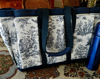 Blue and White Rustic Counrty Toile Travel, Garden, Craft, Diaper, Knitting Tote Bag
