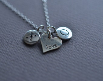 Hugs Kisses and Love Heart Pendant Sterling Silver Necklace - Valentines Day Gift