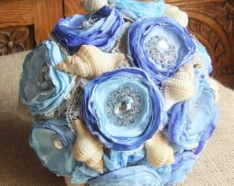 Blue Beach Wedding Brooch Bouquet with Fabric Flowers and Seashells-Blues