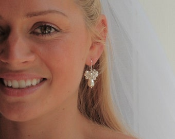 Pearl Bridal Earring, Pearl Earring, Pearl & Crystal Cluster Earring, Short Dangle Earring, Bridesmaid  - Swarovski in Sterling Silver