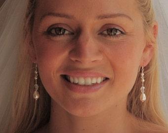 Bridal Earrings, Pearl Earrings, Crystal Dangle, Wedding Jewelry, Bridesmaids, Swarovski in Sterling Silver - The Fantine Earrings