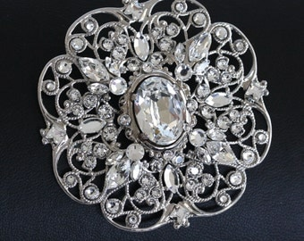 Crystal Bridal Gown Brooch Silver Filigree Wedding Brooch with Swarovski Rhinestone. LILY Brooch