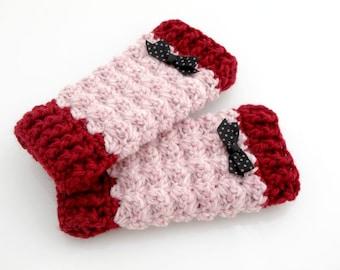 Crocheted Baby Leg Warmers. Pink. Leggings.