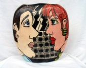 Whimsical Colourful Lovers Faces Handpainted  CERAMIC Pottery VASE  on Etsy