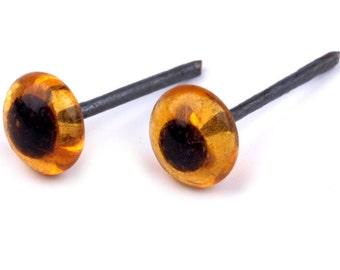 12 Pair Wholesale Lot Czech Republic Tiniest Glass Eyes 4mm Amber Glass 24 Eyes