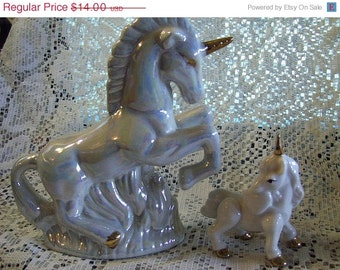 Unicorns Porcelain Set of 2 Large and Small Vintage