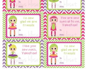 Etiquetas de San Valentín muñecas trapo muñeca niñas San Valentín etiqueta imprimible San Valentín etiqueta Digital archivo DIY de trapo