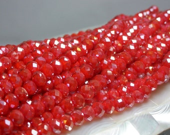 36pcs 8mm Chinese Crystal Faceted Glass Beads Opaque Ruby Orange AB Roundels Strand Jewelry Jewellery Craft Supplies