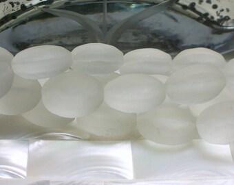 13pcs 16mm Chinese Crystal Matte Clear/White Glass Beads Oval Medium size Strand Jewelry Beads Jewelry Jewellery Craft Supplies