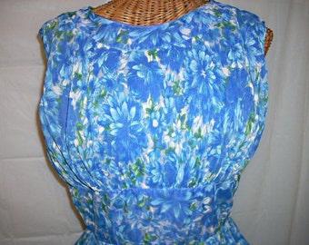 Gorgeous Blue Floral Chiffon DRESS, Vintage 50s, Crystal Pleats, 38 Bust