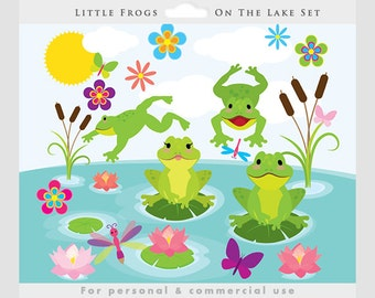 Frogs clipart - cute frogs clip art, whimsical, lilies, lake, water, dragonflies, flowers, froggies, frog for personal and commercial use