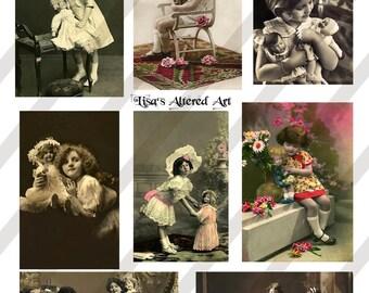 Digital Collage Sheet Vintage Girls with Doll Images Postcards(Sheet no. O26) Instant Download