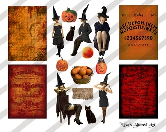 Digital Collage Sheet Vintage Halloween Images (Sheet No.O136) Instant Download