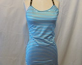 Faux Leather and Stripe Racerback Tunic Tank