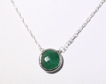Green Emerald Necklace Genuine Emerald Necklace Sterling Silver Bezel May Birthstone Real Emerald Precious Emerald Jewelry BZ-P-105-Em/s