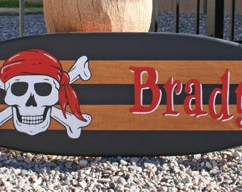 Pirate themed Mini surfboard wall art, personalized children's room art, kid's decor