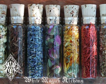 Organic Herbal Old World Alchemy Sacred Herb/Flower Vials . Set of 6 . Your Choice . Pagan Wicca Witchcraft Magic