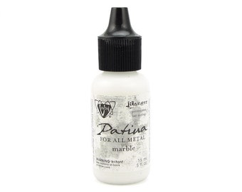MARBLE Vintaj Patina Paint - White Ivory Finish Patina For All Metals - by Vintaj and Ranger Ink - Metal Paint