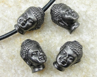 Tierra Cast Buddha Beads Black Oxide Buddha Head Beads Tierra Cast Gunmetal Large Hole Gun Metal Beads (PB13)